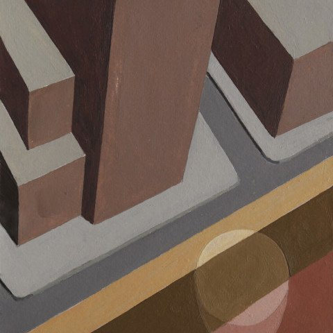 Abstract Acrylic on Cardboard Painting: