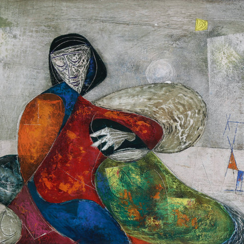 Woman in Surrealist Landscape by Charles Malcolm Campbell