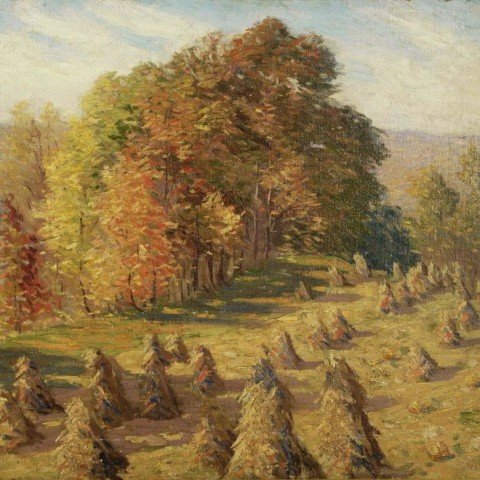 Autumn Landscape with Haystacks by Harold Streator