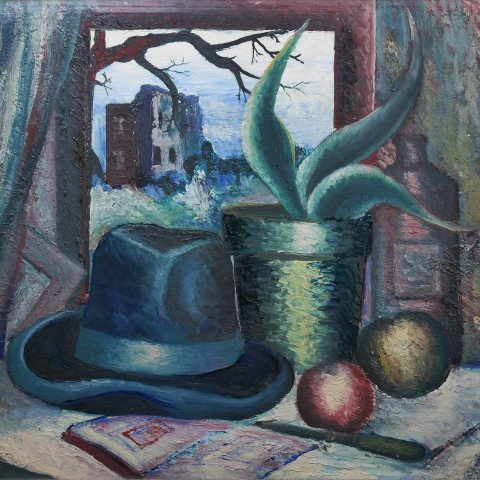 Still Life with Hat and Succulent by Harvey Gregory Prusheck