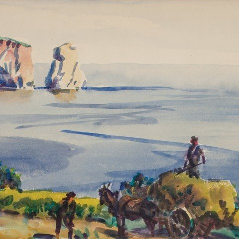 Landscape Watercolor on Paper Mounted on Board Painting: