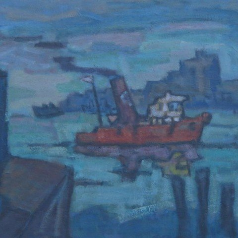 Tugboat on the River by Jacob Kainen