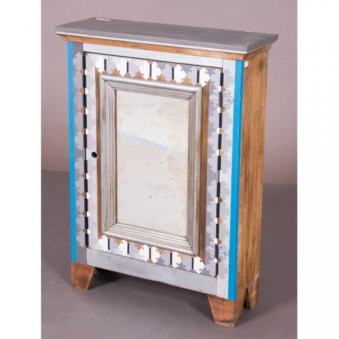 Tempera and Mirrored Wood Cabinet with Objects Decorative Art: