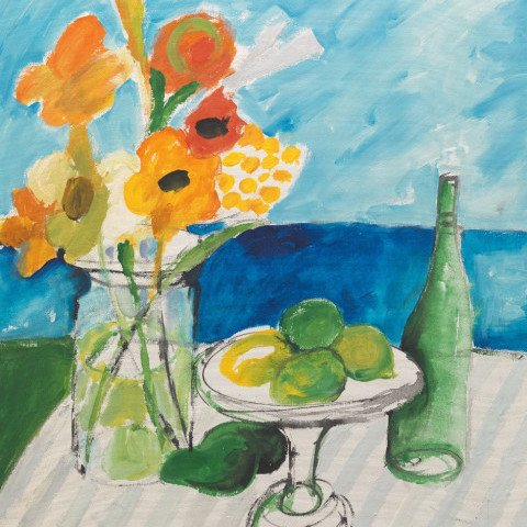 Still life with flowers, fruit, and bottle by Jean Sardi