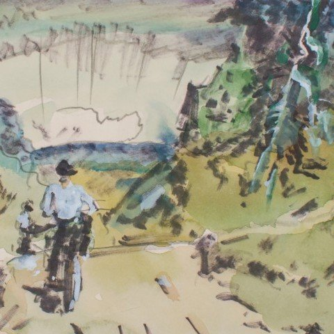 Landscape Watercolor and Ink on Paper Painting:
