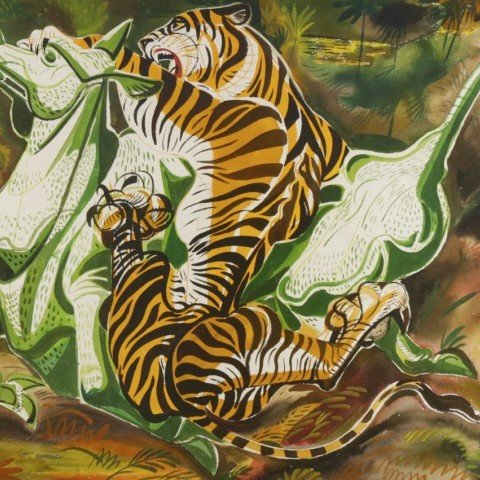 Tiger and Green Horse by Paul Bough Travis