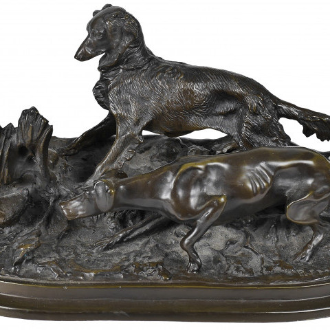 Two Hunting Dogs and a Duck by Pierre-Jules Mêne
