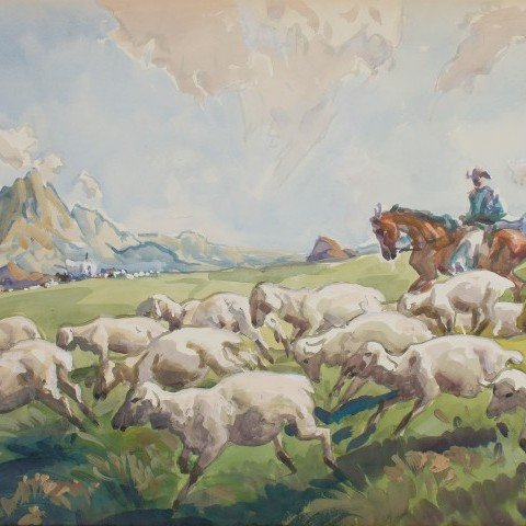 Sheepherder in Mountains by Frank Nelson Wilcox