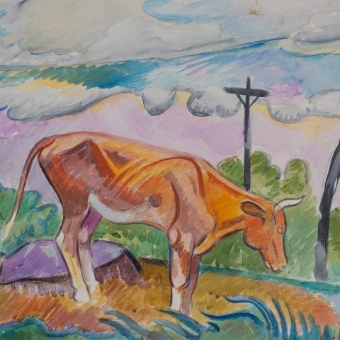 Animal Landscape Watercolor on Paper Painting: