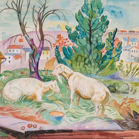 Landscape Animal Watercolor on Paper Painting: