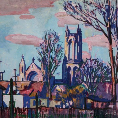 Sunset on Church of the Covenant, Euclid Avenue, Cleveland, Ohio by Frank Nelson Wilcox