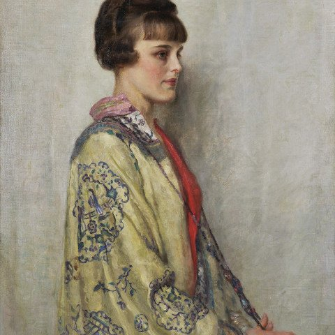 Portrait of a Woman in a Silk Kimono by W. Smithson Broadhead
