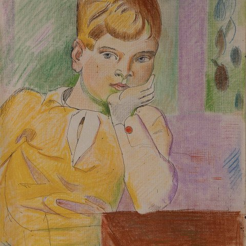 Boy in Yellow Sweater by William Sommer