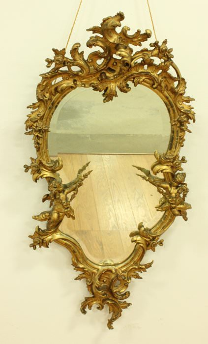 Giltwood & Gesso Rococo Style Mirror by 19th Century French School