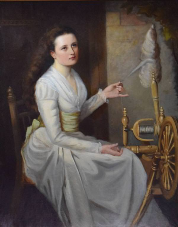 Young Woman Spinning Wool