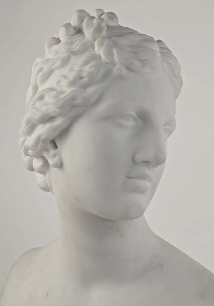 Carved Marble Bust of the Goddess Aphrodite by 19th Century Italian School