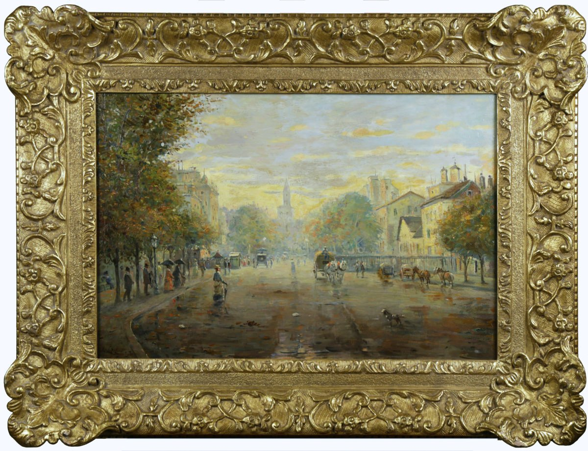 Parisian Street Scene, Avenue Montaigne (19thc. French School) by 19th Century French School