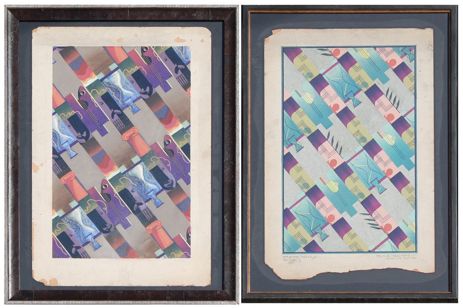 Two Studies for Graphic Designs by William A. Van Duzer