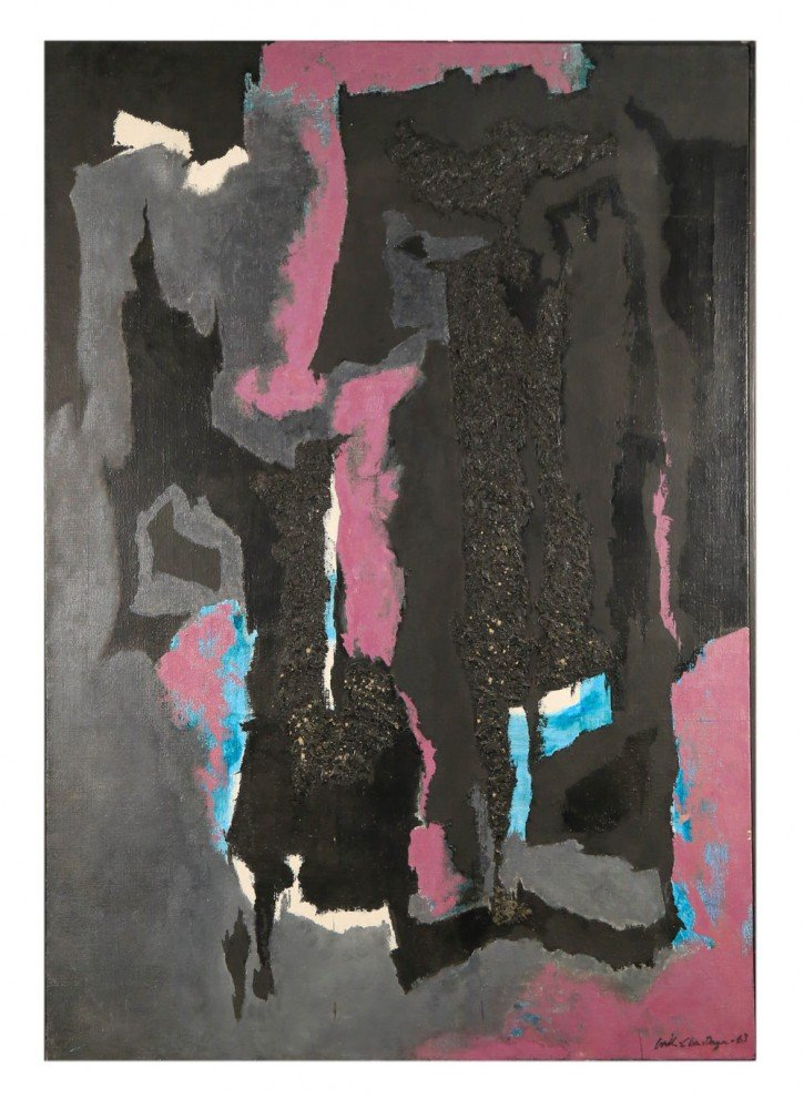 Abstract in Black, Purple and Green by William A. Van Duzer