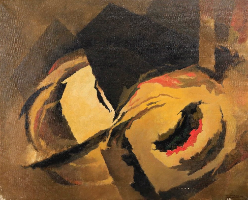 Abstract in Black, Orange and Yellow by William A. Van Duzer