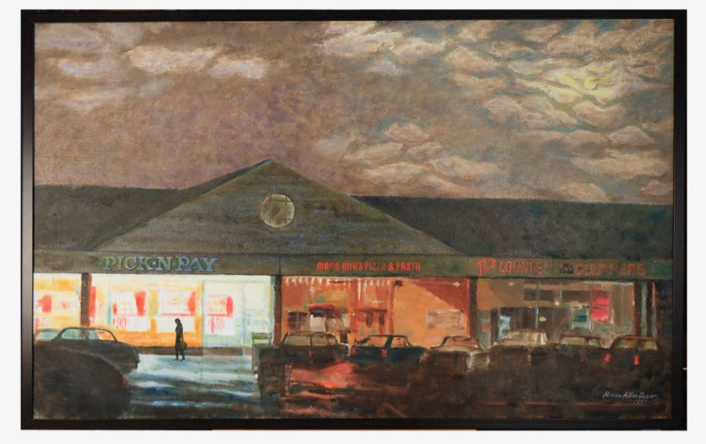Storefronts at Night by William A. Van Duzer