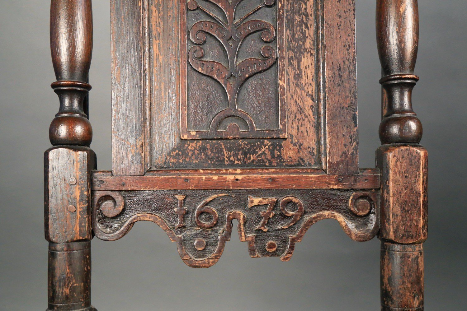 17thc. American or Dutch Carved Side Chair