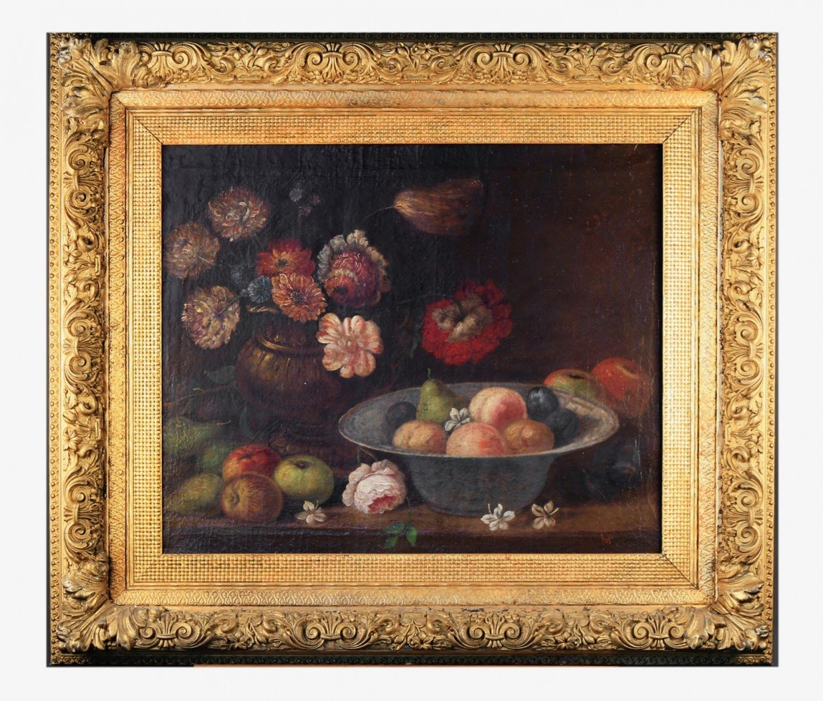 17thc./18thc. Continental School Still life of Flowers and Bowl of Fruit
