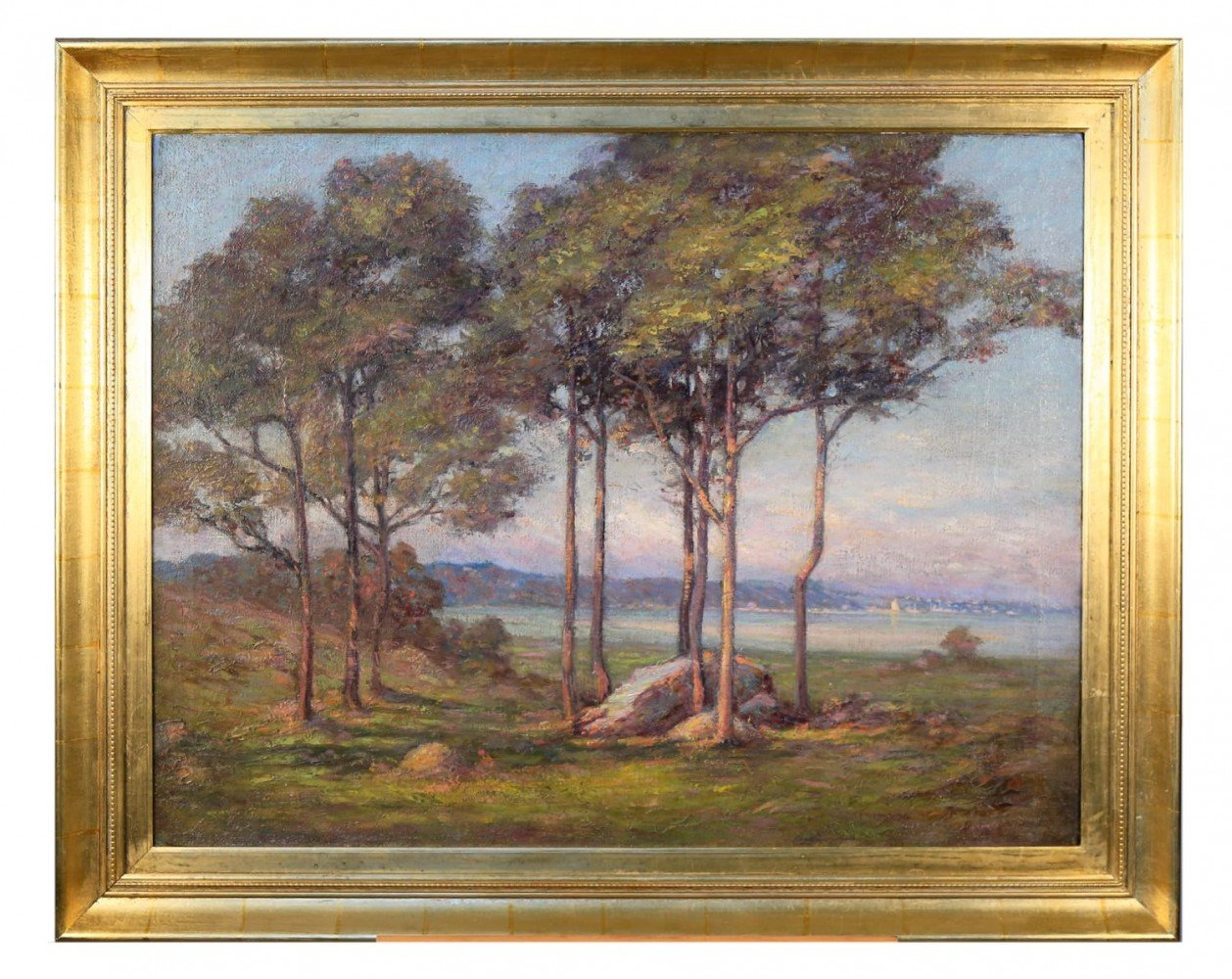 20thc. American School Landscape with Trees, a Lake, and Sailboats in the Distance