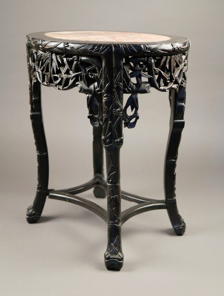 A Chinese Teakwood Taboret Table with inset marble top, c.1880