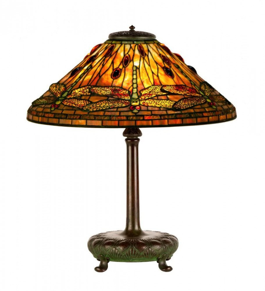Tiffany Dragonfly Leaded Glass and Bronze Table Lamp by Tiffany Studios