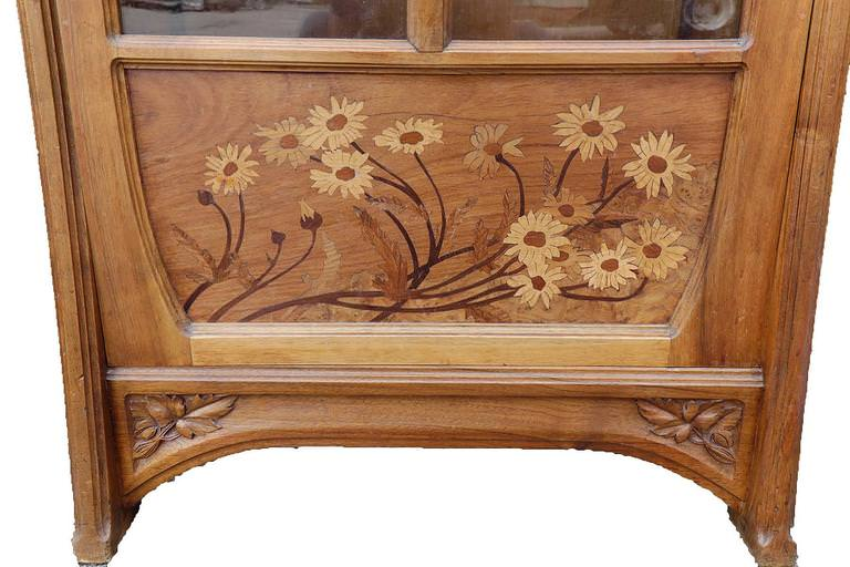 Pair of Art Nouveau Glass Front Bookcases by 19th Century French School