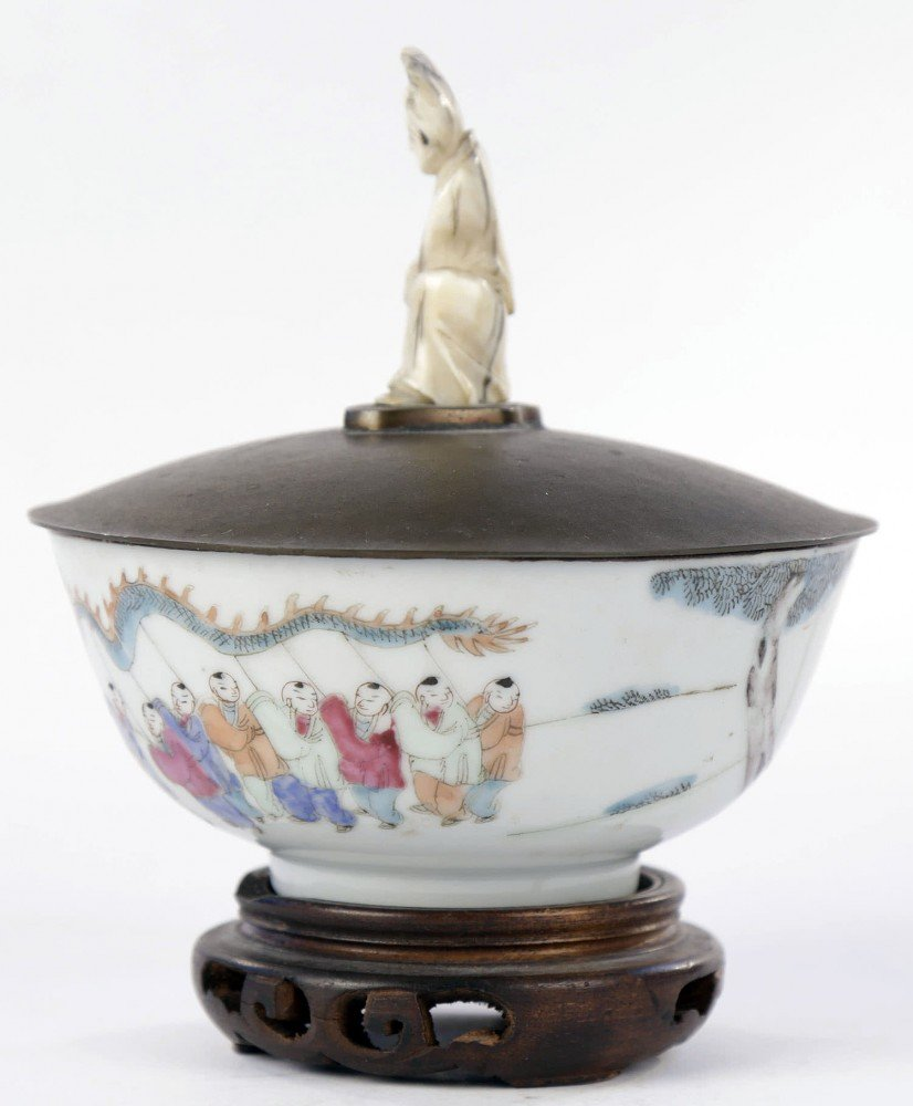 Chinese Polychrome Glaze Porcelain Bowl with Potter Mellen Cover