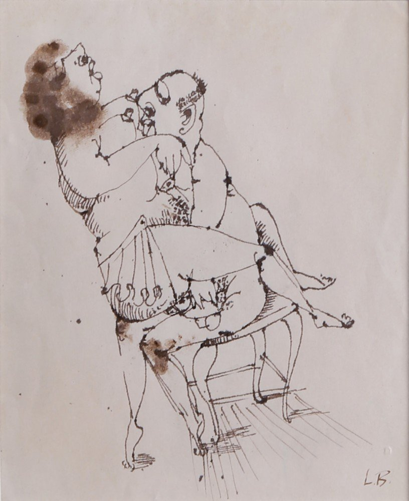 Figurative Pen and Ink on Paper Painting: