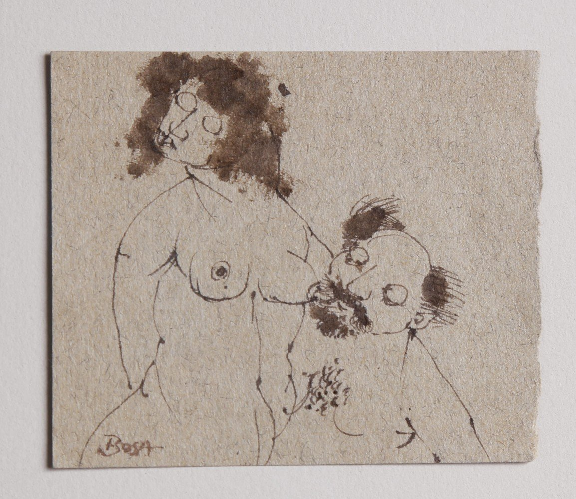 Figurative Pen and Ink on Paper Drawing: