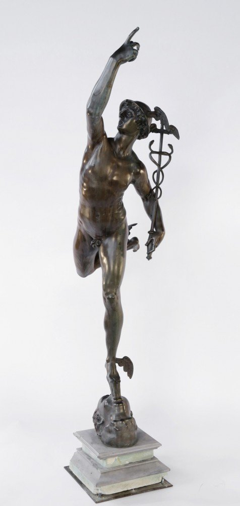 A Large Bronze Figure of Mercury by 19th Century French School