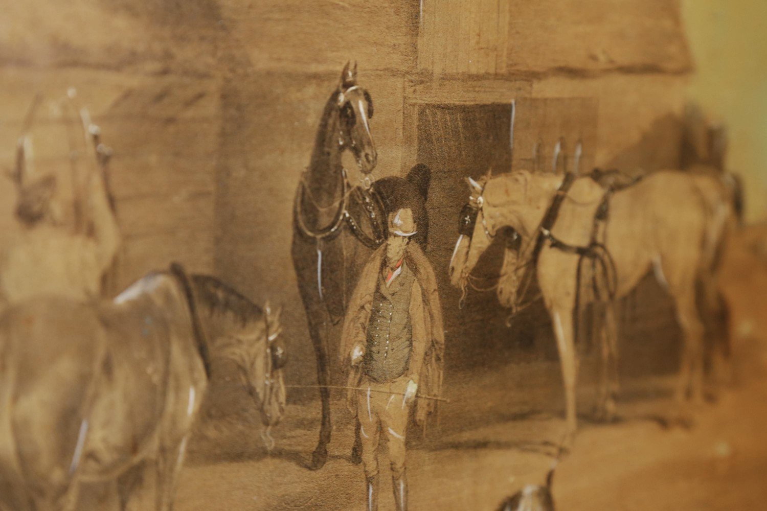 Rare English Figured Maple Four Panel Hinged Screen with Decoupaged Coaching Scenes and Thoroughbreds by 19th Century British School