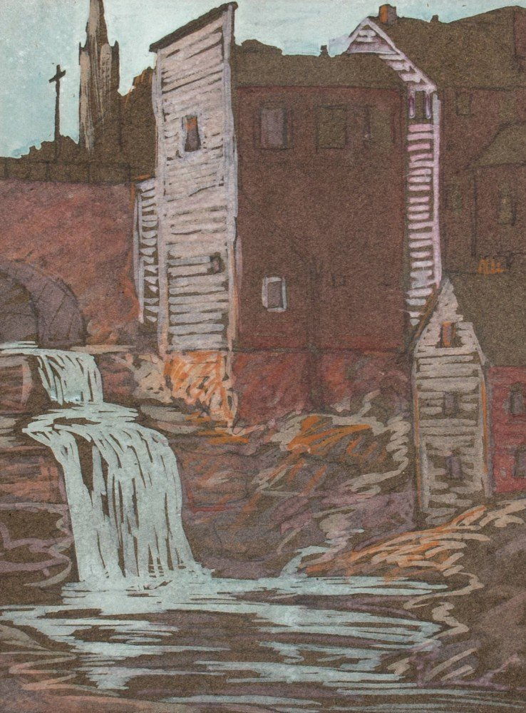 Landscape Gouache on Paper Painting: Mill with Waterfall, Chagrin Falls by American Artist Gaertner