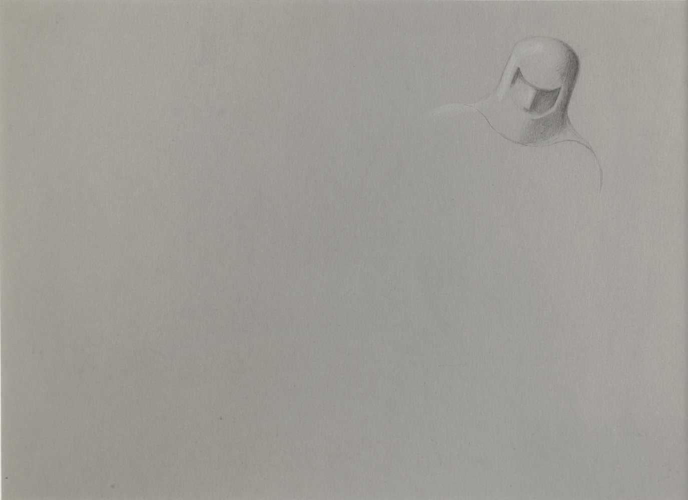 Abstract Figurative Graphite and White Heightening on Paper Drawing: