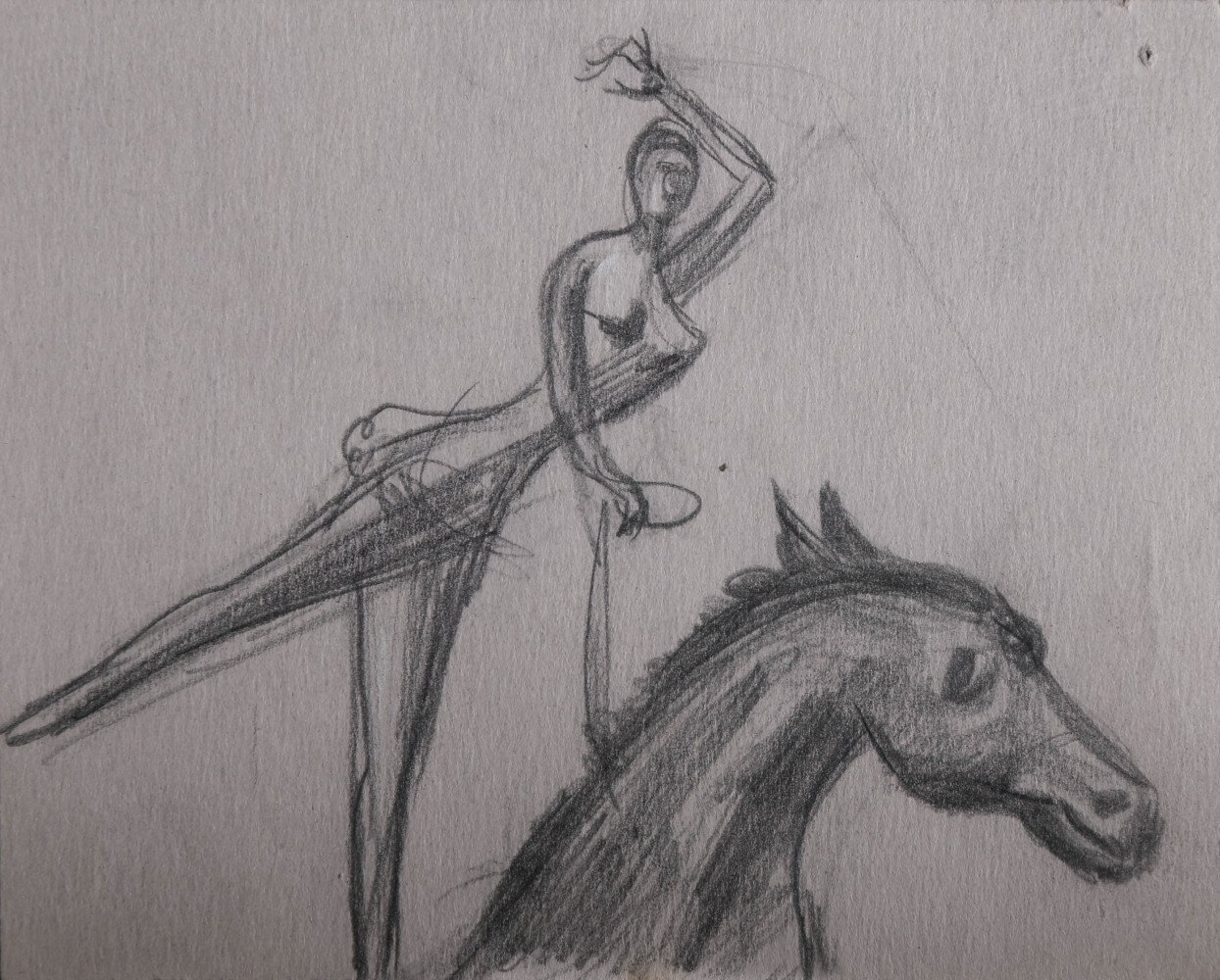 Figurative Animal Graphite on Paper Drawing: