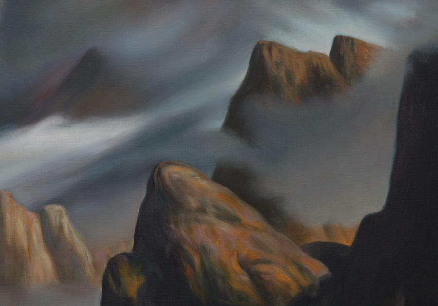 Abstract Landscape Oil on Canvas Painting: