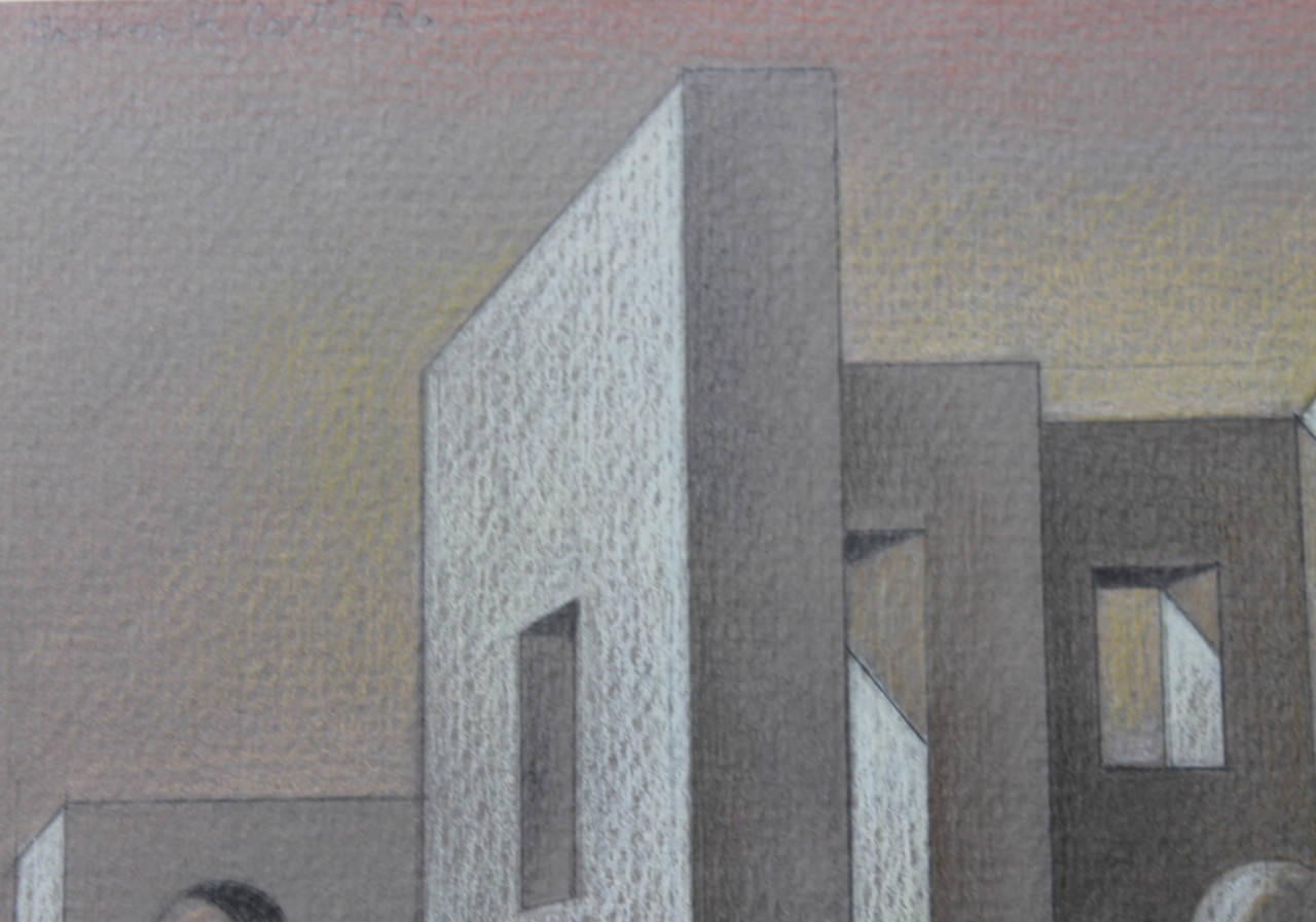 Abstract Acrylic on Pastel on Paper Drawing: