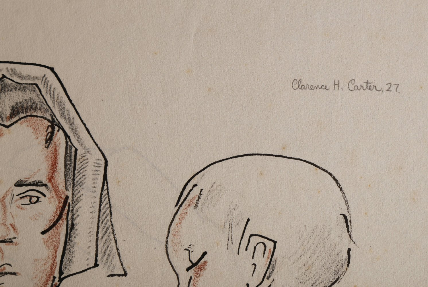 Figurative Ink and Conté Crayon on Paper Drawing: