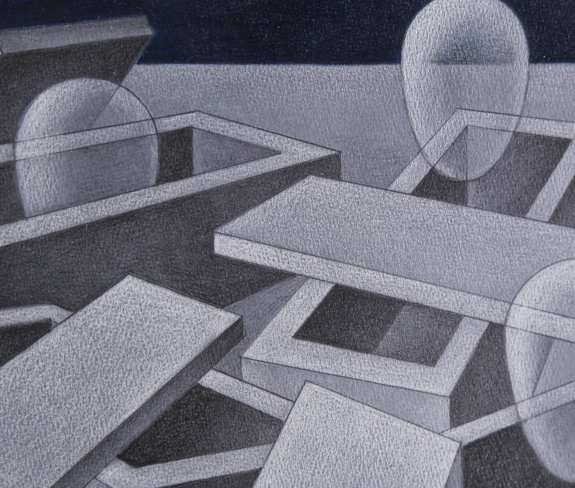 Abstract Pastel and Graphite on Paper Drawing: