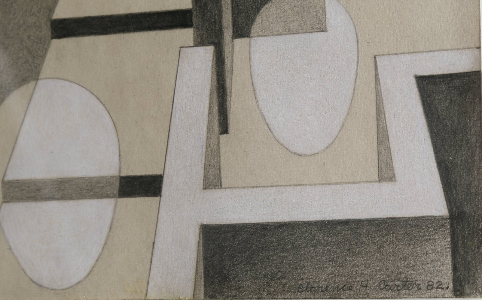 Abstract Graphite and White Heightening on Illustration Board Painting: