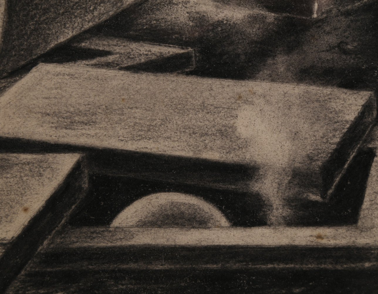 Abstract Charcoal on Paper Drawing: