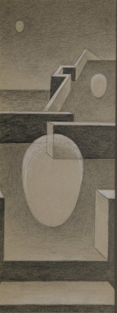 Abstract Graphite and White Heightening Drawing: