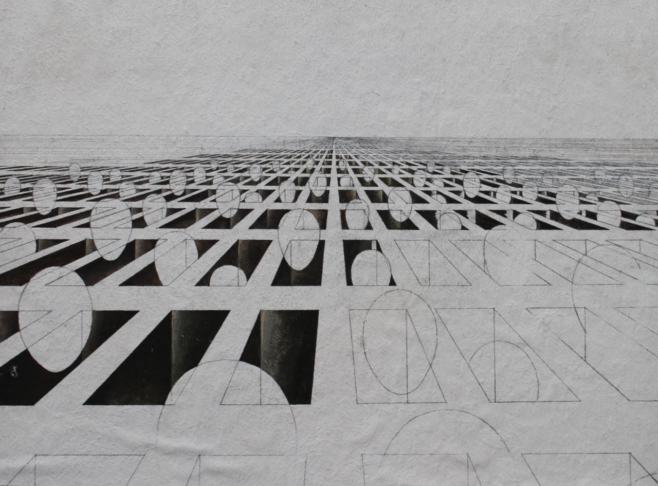 Abstract Graphite and Ink on Scintilla Drawing: