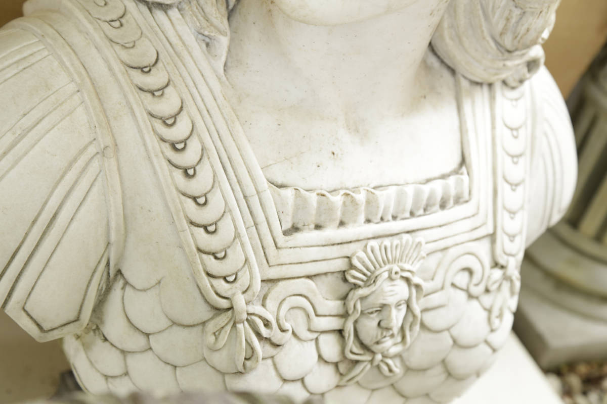 Carved Marble Full Scale Bust of Athena