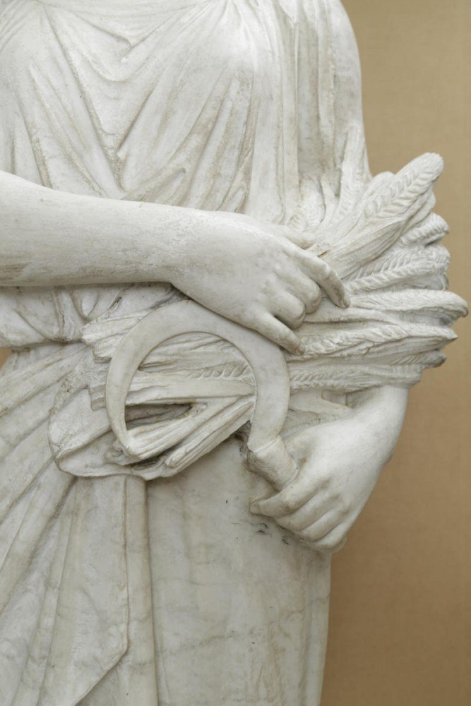 Full Scale Carved Marble Figure of a Woman with a Wheat Sheaf