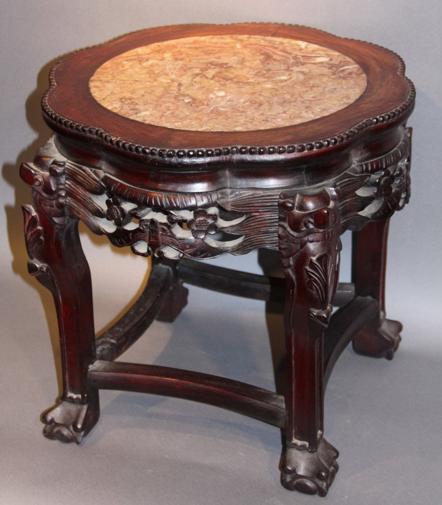 A Chinese Marble top Tabouret